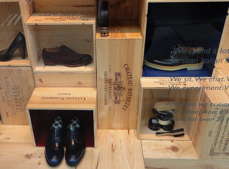 Menswear shoes window display design london