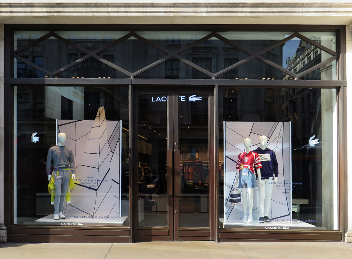 Nautical window display Lacoste London