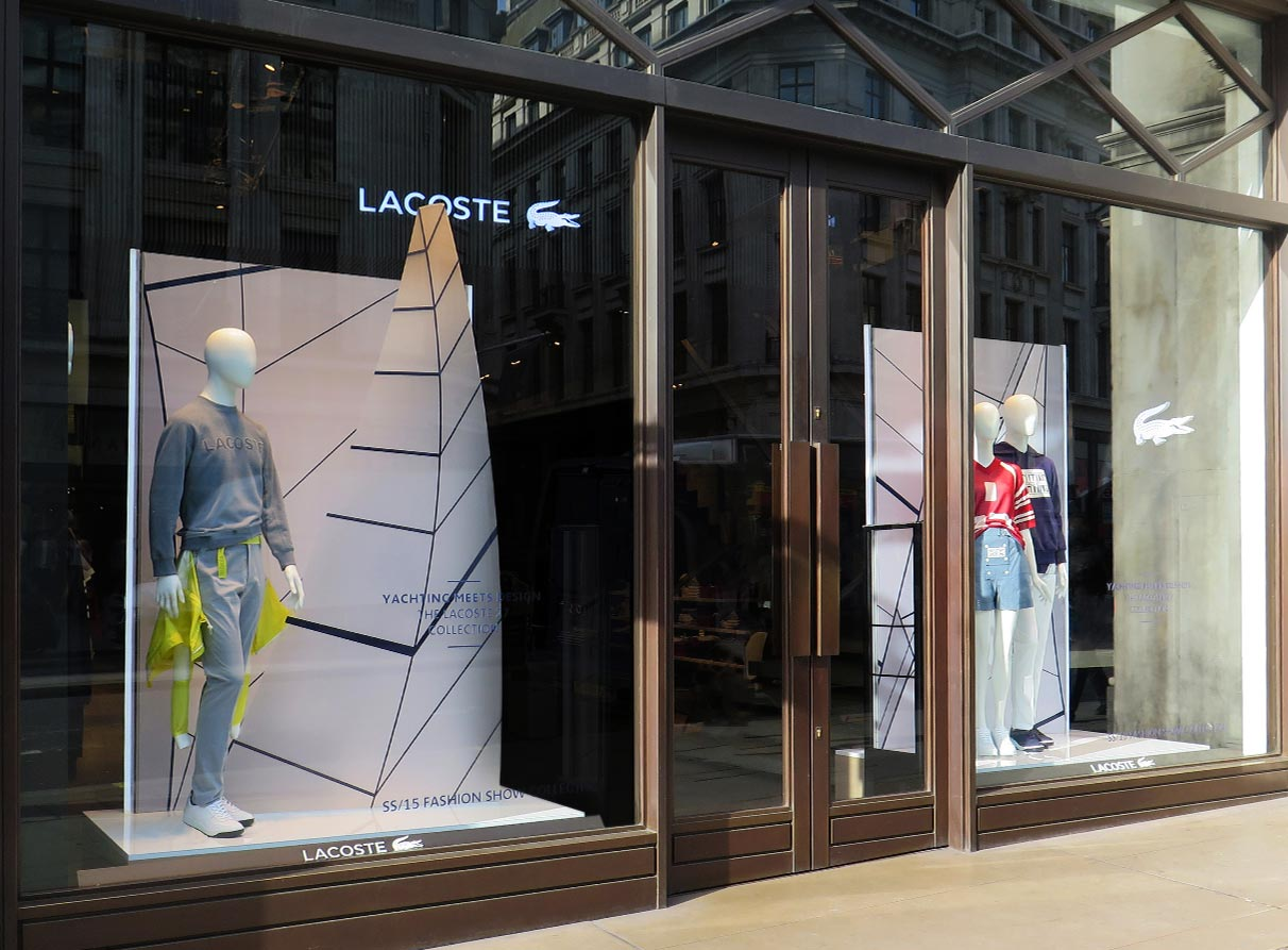 Sailing window display Lacoste London