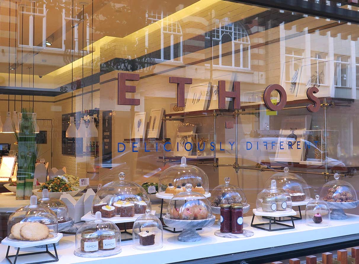 Restaurant window displays company London