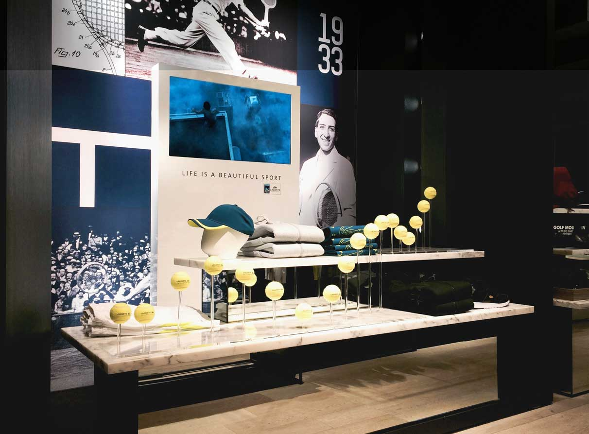 Retail interior displays company London - Lacoste
