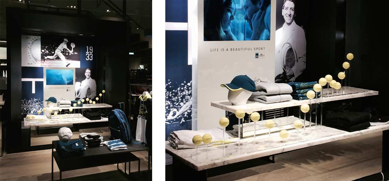 interior displays design Lacoste tennis