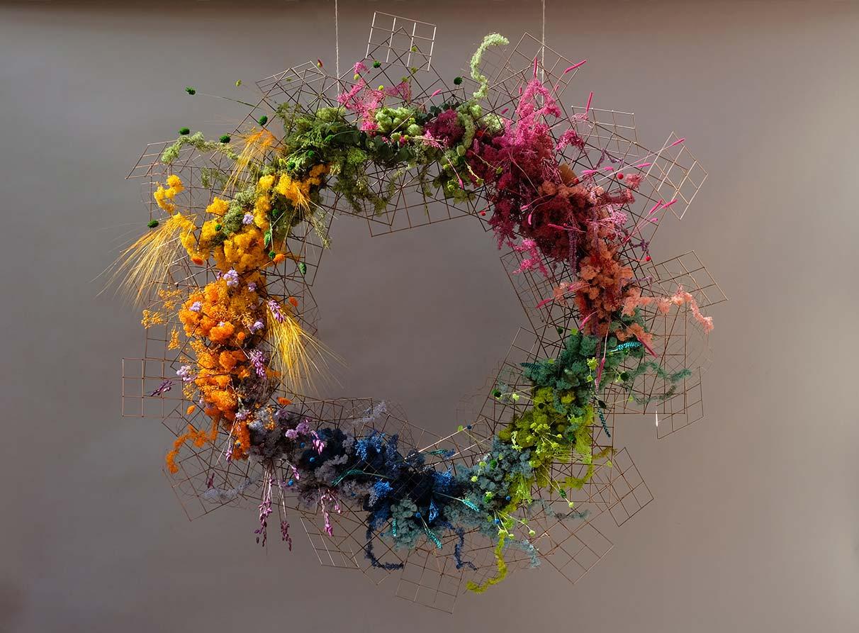 Neom organics dried coloured flowers Christmas wreath