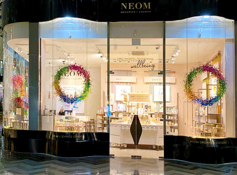 Neom organics retail window display Leeds