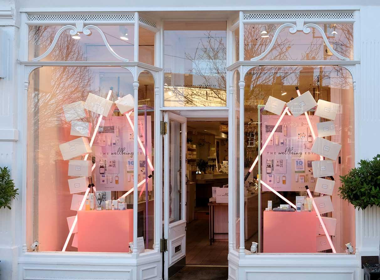 neom organics window display design props installation London